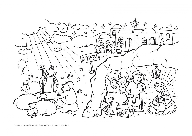 ausmalbild zur weihnachtsgeschichte nach lukas
